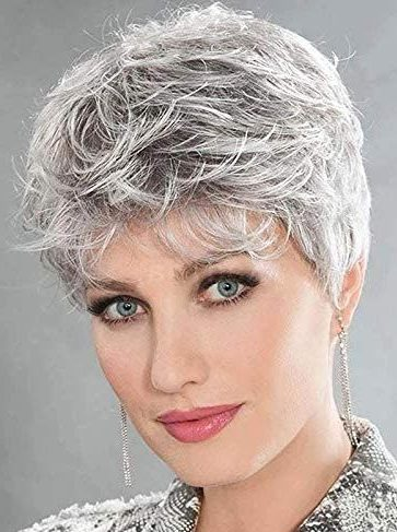 Curly gray pixie cut