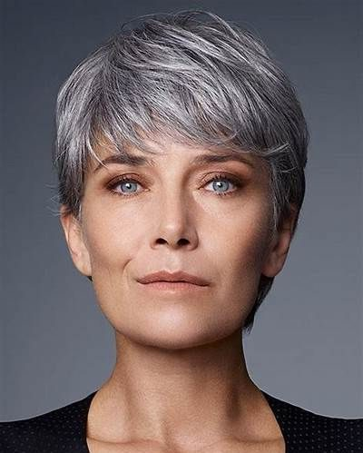 Gray hair pixie cuts for older women