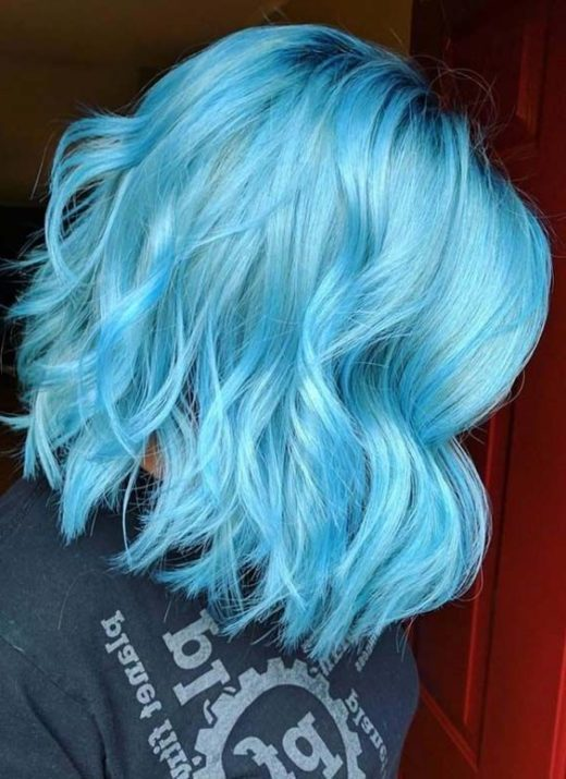 icy blue blue ombre short hair