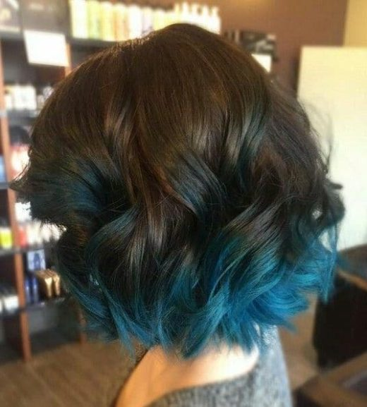 ombre blue curly hair