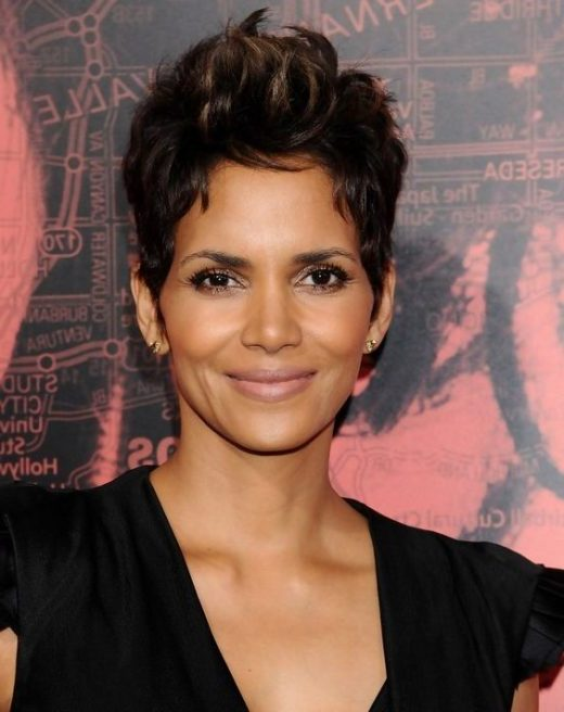 curly halle berry short hair