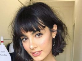 short curly hair with bangs and layers